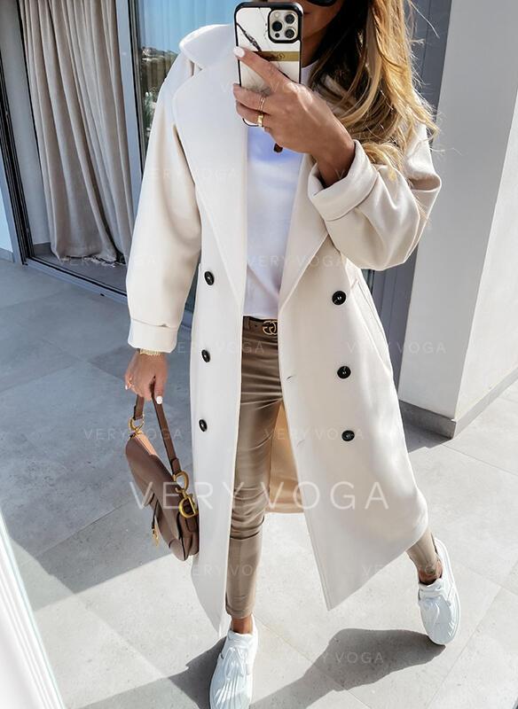 Długie rękawy Jednolity Slim Fit Płaszcze