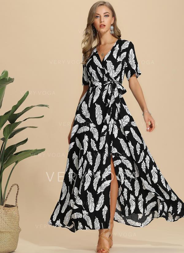 Imprimeu Mâneci la Jumătate Tip A-line Maxi Casual/Elegant Elbiseler