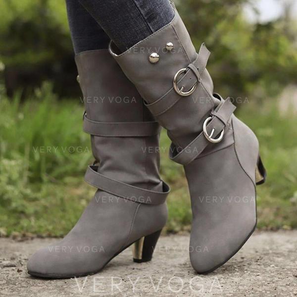 Kvinner PU Stor Hæl Mid Leggen Støvler med Spenne Glidelås sko