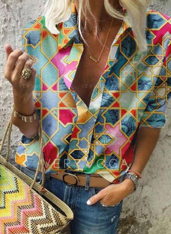 Πετό 1/2 Μανίκια Χωρίς Κουμπιά Κολάρου Καθημερινό Μπλούζες Πουκάμισα