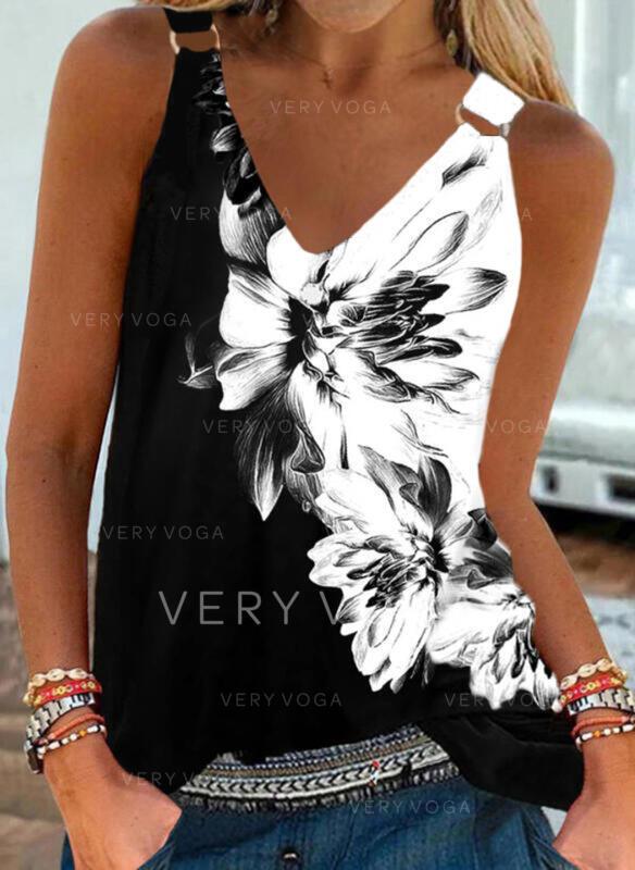 Floral Impresión Cuello en V Sin mangas Camisetas sin mangas