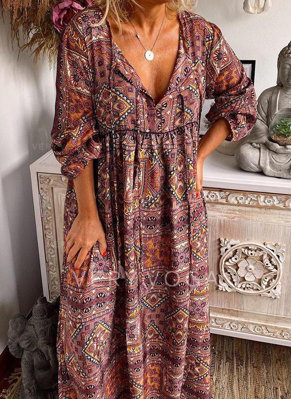 Print Long Sleeves Shift Casual/Boho Maxi Dresses