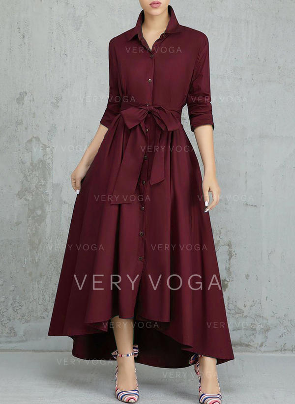 Solid Long Sleeves A-line Asymmetrical Casual/Elegant Dresses