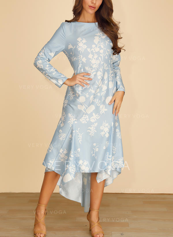 Print Long Sleeves A-line Asymmetrical Casual/Elegant Dresses