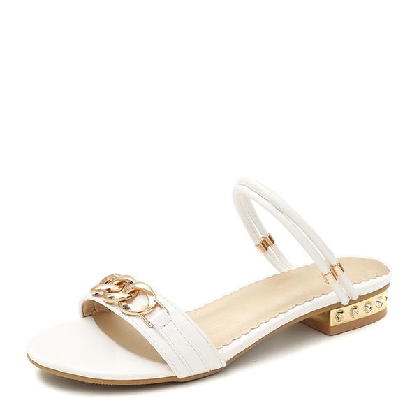 7c09f6ab7c779 [€ 26.93] Frauen Veloursleder Flascher Absatz Sandalen Flache Schuhe Peep  Toe mit Kette Schuhe - VeryVoga