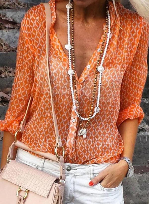 baskı V yaka Uzun kollu Düğmesiz Yakalı Günlük Gömlekler