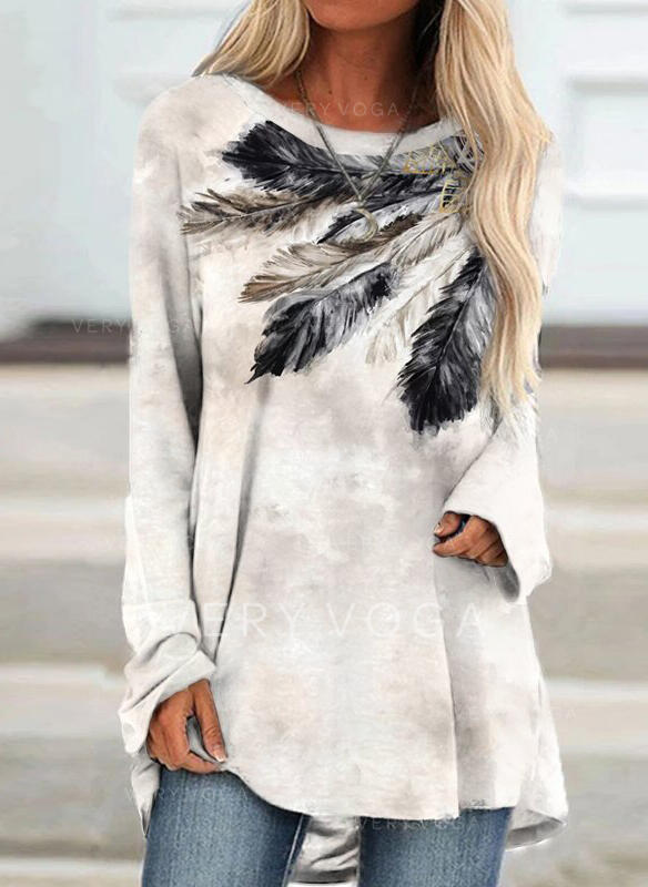 Print Feather Round Neck Long Sleeves T-shirts