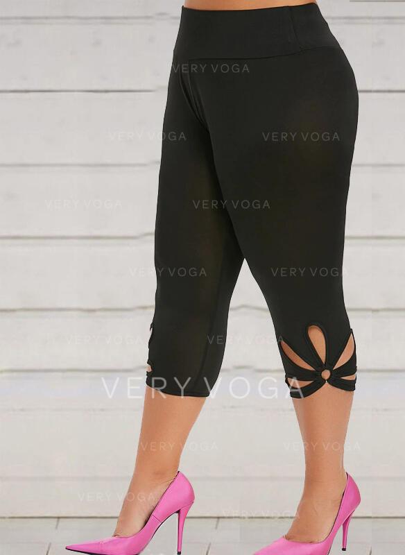 Solid Floral Capris Casual Plus Size Hollow Out Pants Leggings