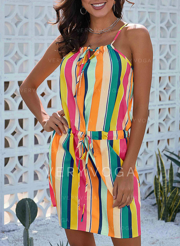 Striped Sleeveless A-line Above Knee Casual/Vacation Dresses