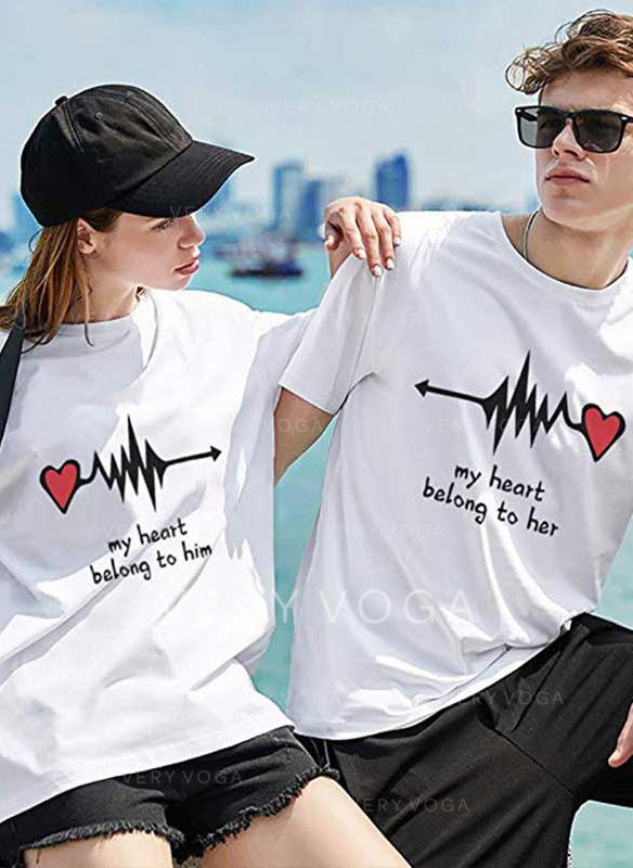 His and Hers Letter Print Matching Couple T-Shirts