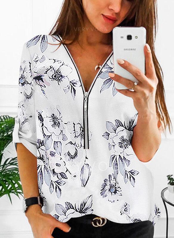 Print Bloemen V-hals 1/2 Mouwen Casual Overhemd