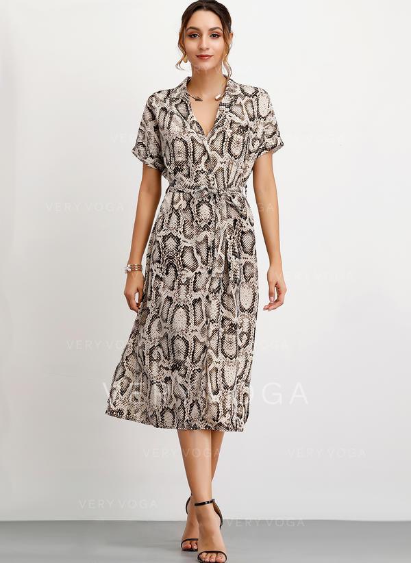 Animal Print Short Sleeves A-line Midi Casual Dresses