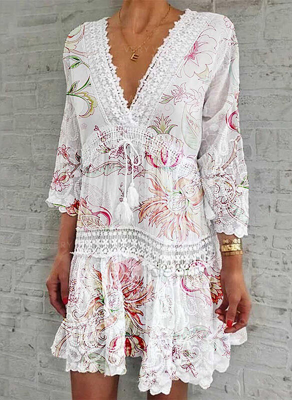 Lace/Print/Floral 3/4 Sleeves Shift Above Knee Casual/Elegant Dresses (199292280)