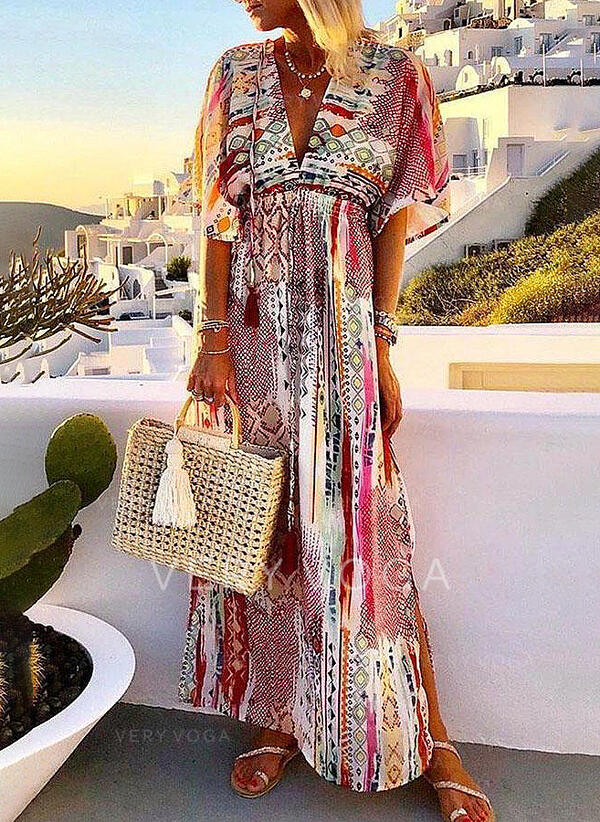 Print 1/2 Sleeves A-line Skater Casual/Boho/Vacation Maxi Dresses