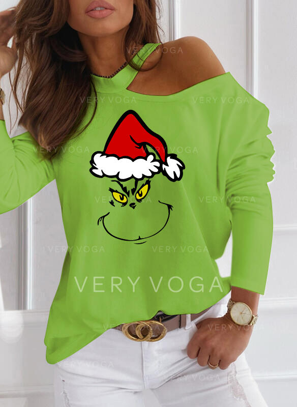 Stampa Una spalla Maniche lunghe Casuale Natale Camicie