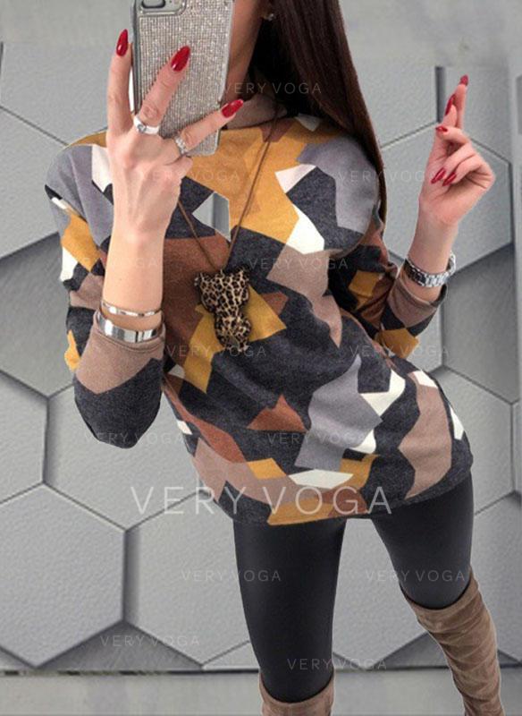 Εκτύπωση Χρωματικό μπλοκ Υψηλός Λαιμός Μακρυμάνικο Καθημερινό Блузки