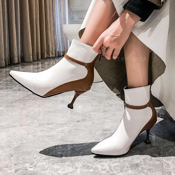 Vrouwen PU Stiletto Heel Pumps Laarzen met Rits Gesplitste Stof schoenen