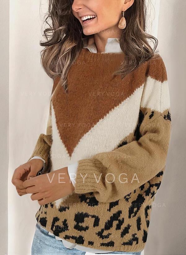 Bloque de Color Leopardo Cuello Redondo Casuales Suéteres