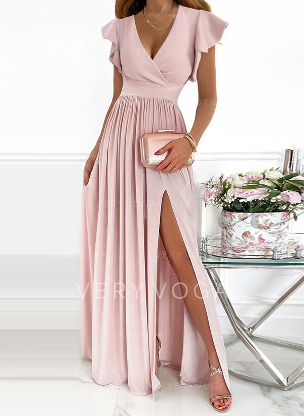 Solid Short Sleeves Ruffle Sleeve A-line Skater Party/Elegant Maxi Dresses