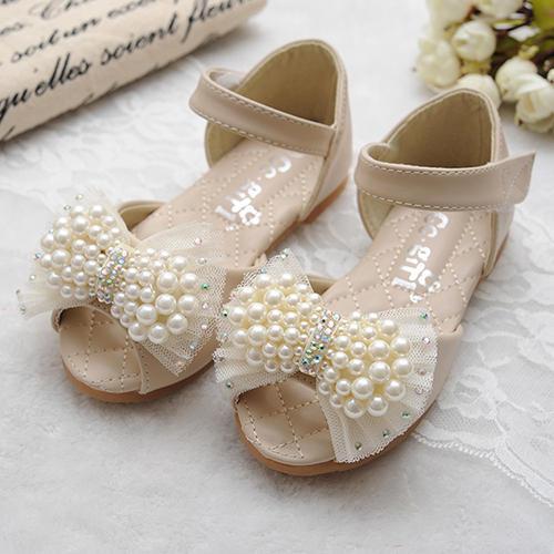 9b890d9faa4fe Fille de similicuir talon plat À bout ouvert Sandales Chaussures plates  Chaussures de fille de fleur