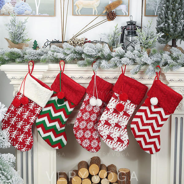 vrolijk kerstfeest opknoping Cadeau tas Gebreid Apple Tassen Kerstsok