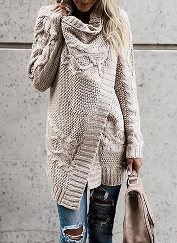 Solid Cable-knit Cowl Neck Casual Sweaters