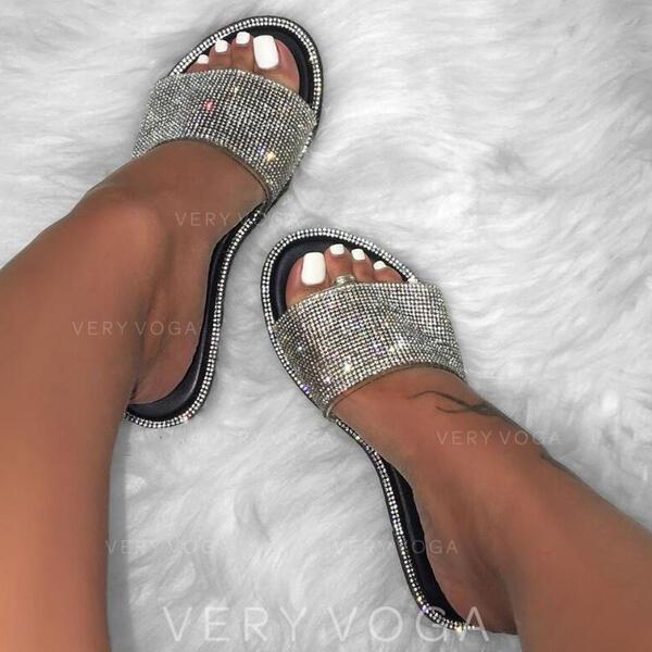 Women's PU Flat Heel Sandals Flats Peep Toe Slippers With Rhinestone Sparkling Glitter shoes