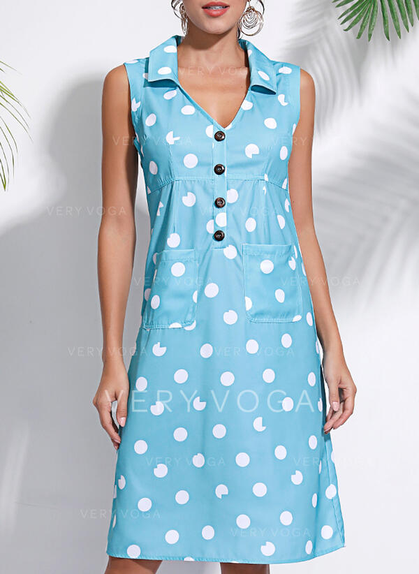 PolkaDot Sleeveless Shift Knee Length Casual/Vacation Dresses