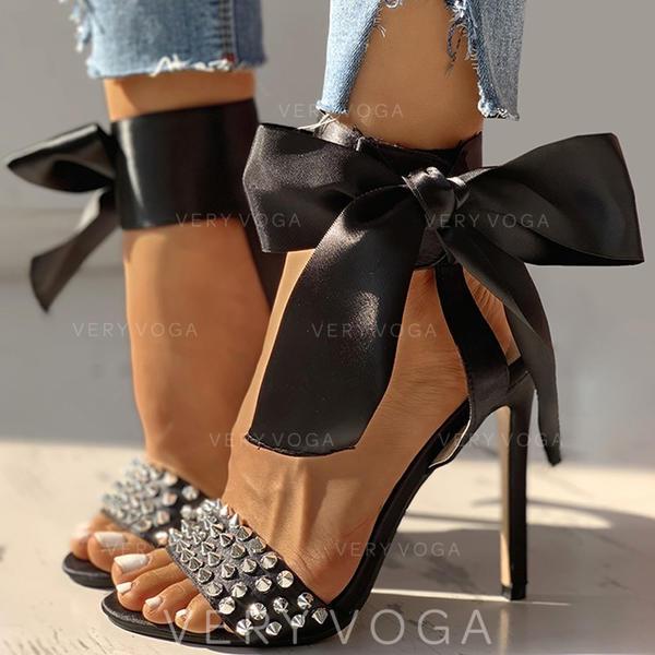 Dla kobiet PU Obcas Stiletto Sandały Czólenka Otwarty Nosek Buta Z Kokarda Nit obuwie