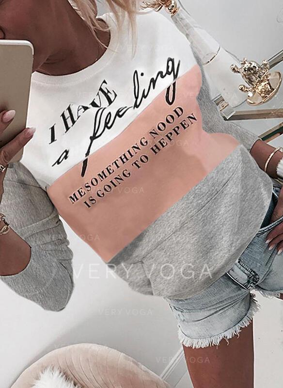 Print Color Block Figur rund hals Lange ærmer Sweatshirts