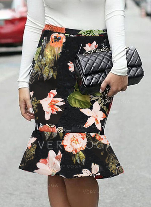 Polyester Print Floral Knee Length Bodycon Skirts