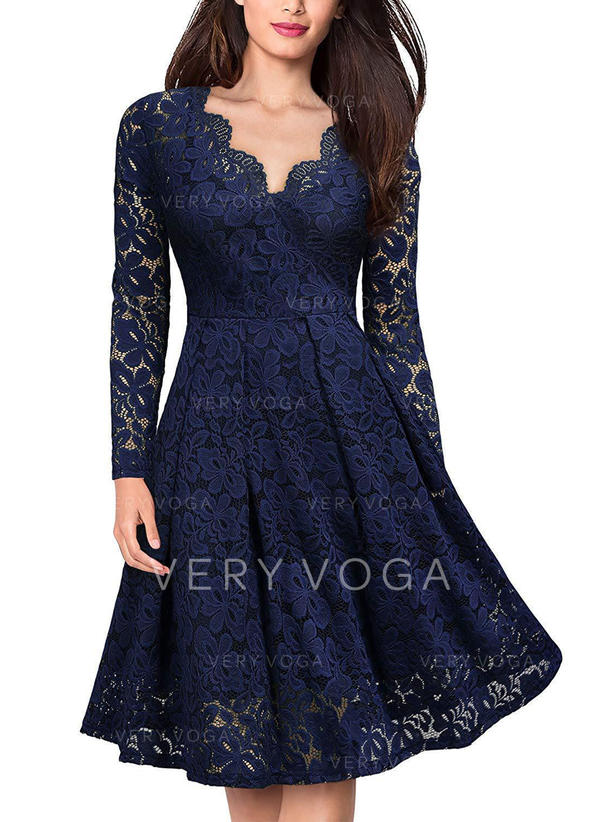 Lace/Solid Long Sleeves A-line Knee Length Vintage/Casual/Elegant Dresses