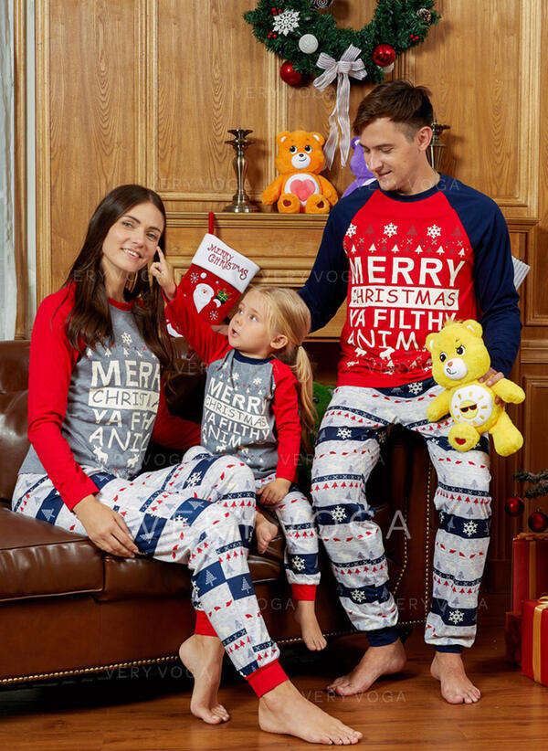 Lettera Stampa Famiglia Partita Di Natale Pajamas