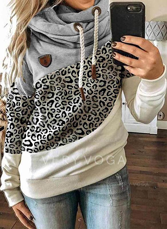 Color Block Leopard Lange ærmer Hoodie
