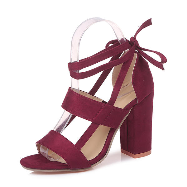 29ca5f76092 [US$ 19.99] Women's Suede Chunky Heel Sandals Pumps With Lace-up Hollow-out  shoes - VeryVoga
