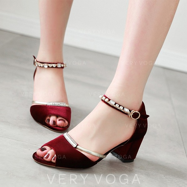 Women's Suede Chunky Heel Sandals MaryJane With Buckle Rhinestone