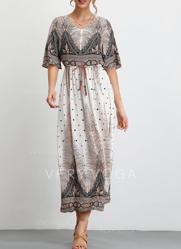 Nadrukowana Rękawy 1/2 W kształcie litery A Casual/Boho/Wakacyjna Maxi Sukienki