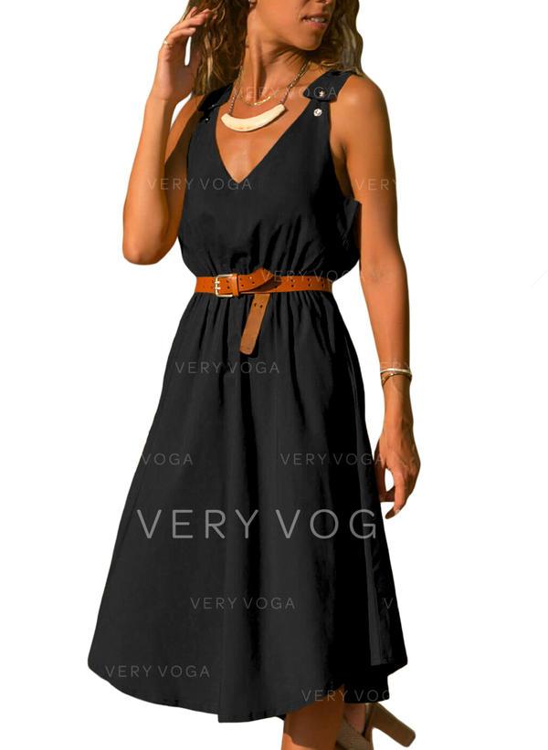 Black Casual Knee Length Dress