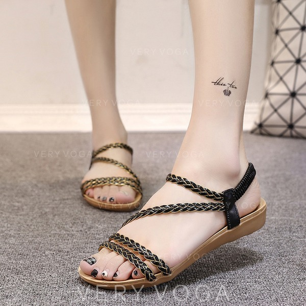 Women's Leatherette Wedge Heel Sandals Flats Peep Toe Slingbacks With Braided Strap Split Joint Elastic Band shoes