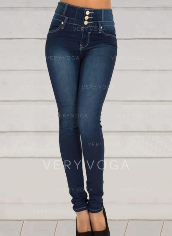 Shirred Elegant Sexy Dünn Denim Jeans