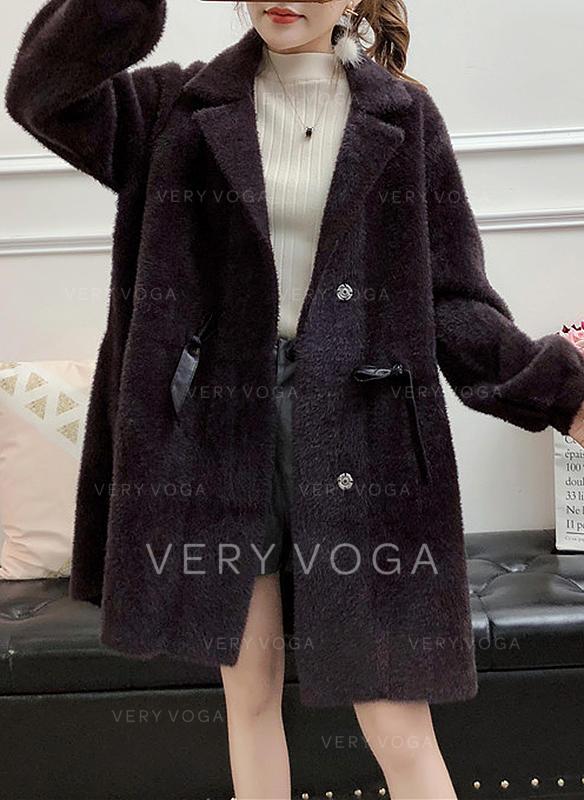 Denim Long Sleeves Plain Blend Coats
