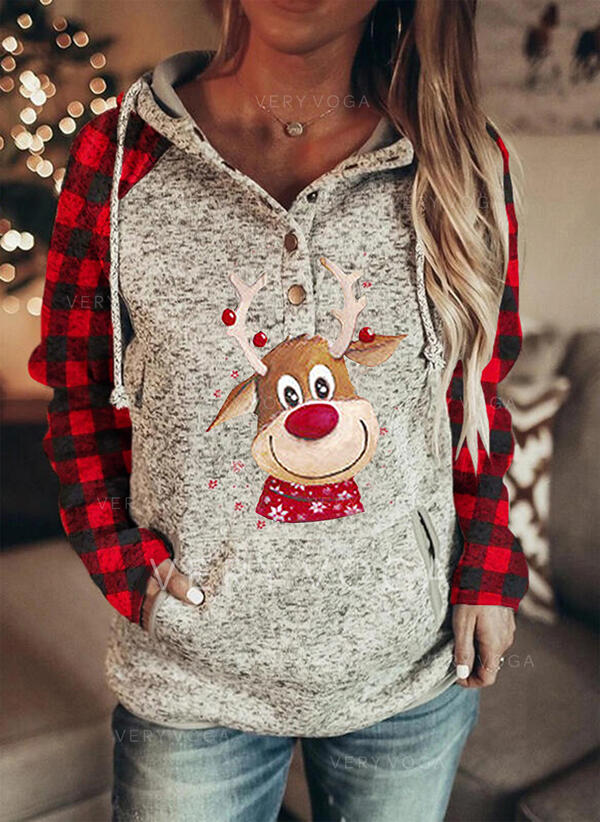 Animal Print Grid Pockets Long Sleeves Christmas Sweatshirt