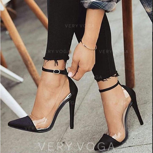 Women's Fabric Stiletto Heel Pumps Closed Toe With Buckle shoes