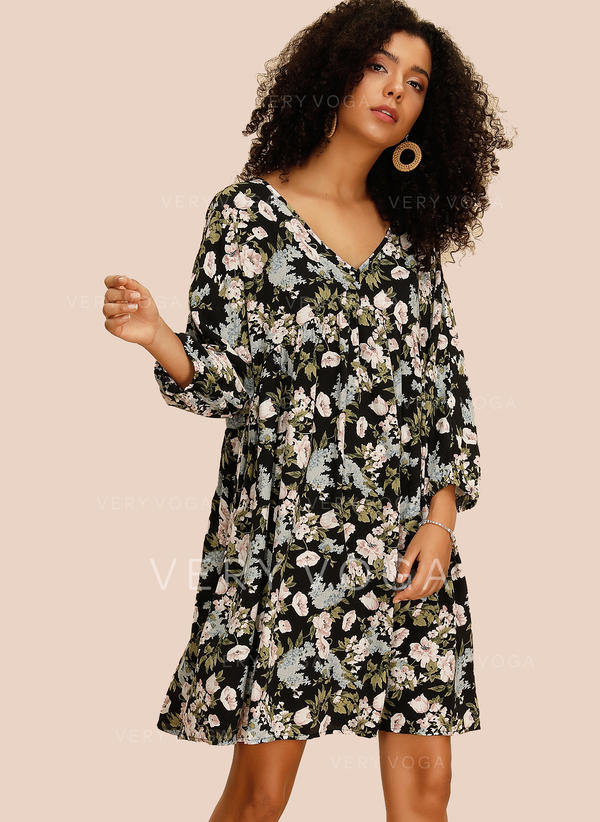 Print/Floral Long Sleeves Shift Above Knee Casual Dresses