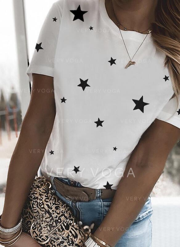 Estampado Gola Redonda Manga Curta Camisetas