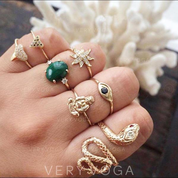 Exotic Alloy Women's Rings (Set of 7)