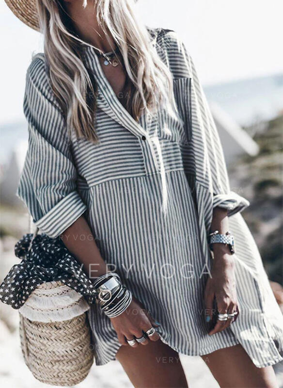 Striped Long Sleeves Shift Above Knee Casual/Vacation Tunic Dresses