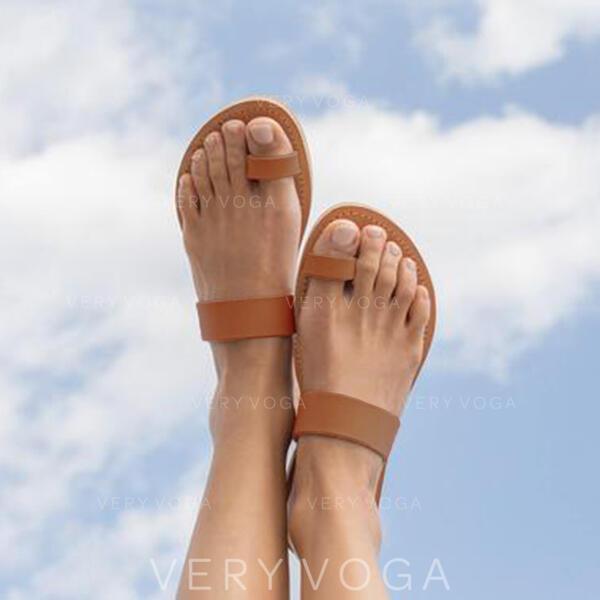 Kvinder PU Flad Hæl sandaler Flip Floppere med Udhul sko