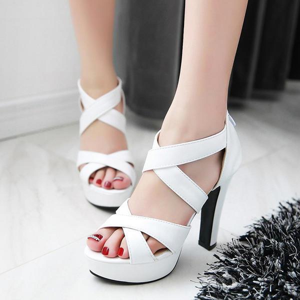 Women's Leatherette Stiletto Heel Sandals Platform Peep Toe shoes