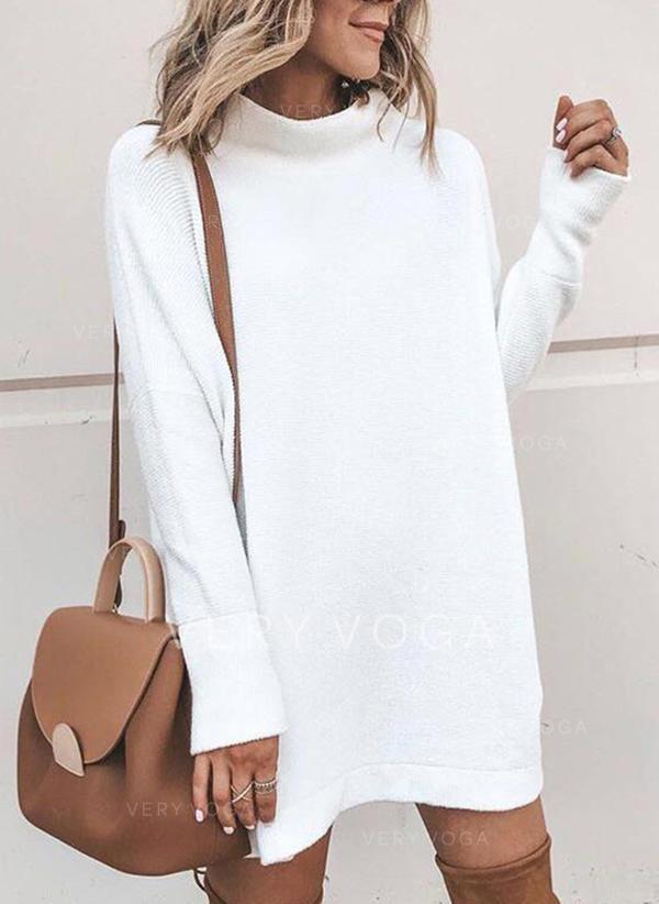 Sólido Cuello De Tortuga Vestido de Suéter